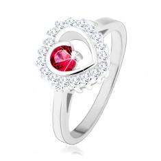 Pierścionek ze srebra 925, rodowany, przejrzysty zarys serca z okrągłą różową cyrkonią