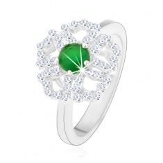 Pierścionek ze srebra 925, błyszczący kwiatek, przezroczyste zarysy płatków, zielony środek