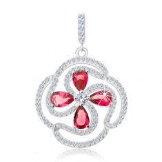 Srebrny 925 wisiorek, kwiatek z falistych pasów i różowych łez