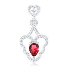 Srebrny wisiorek 925, dwa małe serduszka, falisty kontur serca, różowa kropla