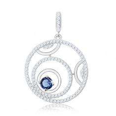 Wisiorek ze srebra 925, trzy obręcze, błyszcząca obwódka, okrągła niebieska cyrkonia