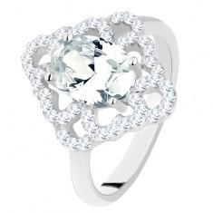 Pierścionek ze srebra 925, błyszczący romb, zarys serc, owalna przezroczysta cyrkonia