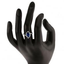 Srebrny 925 pierścionek, błyszczący zarys ziarenka, okrągła niebieska cyrkonia