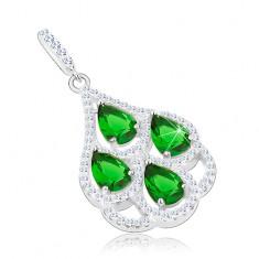 Srebrny wisiorek 925, zielone cyrkoniowe łzy, przezroczysta obwódka