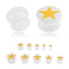 Plug do ucha z akrylu białego koloru, żółta pięcioramienna gwiazda, gumeczka