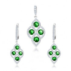 Srebrny zestaw 925, wisiorek i kolczyki, obły romb, zielone cyrkonie