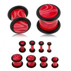 Akrylowy plug do ucha, czerwony kolor, marmurowy wzór, czarne gumeczki