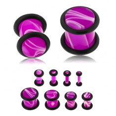 Plug do ucha z akrylu fioletowego koloru, biały marmurowy wzór, dwie gumeczki