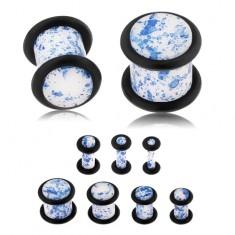 Plug do ucha z akrylu, biała powierzchnia zabarwiona niebieskim kolorem, gumeczki