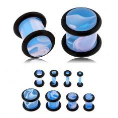 Niebieski plug do ucha, akryl, biały marmurowy wzór, gumeczki