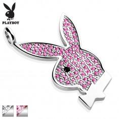 Stalowy wisiorek Playboy, srebrny kolor, zajączek wyłożony cyrkoniami