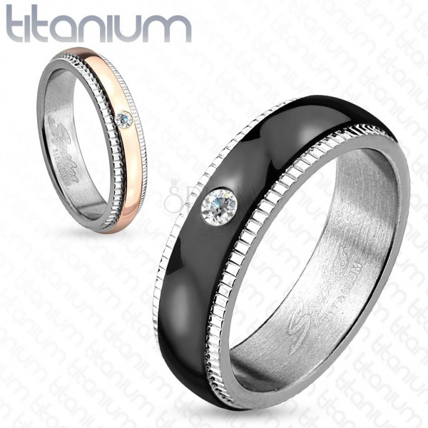Obrączka z tytanu, srebrny kolor, czarny pas z cyrkonią, wcięcia, 6 mm