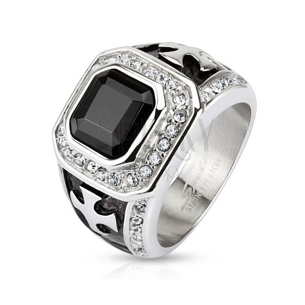 Masywny pierścionek z chirurgicznej stali, czarny cyrkoniowy kwadrat, przezroczyste pasy, krzyże