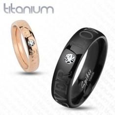 Czarna obrączka z tytanu, błyszcząca przejrzysta cyrkonia, napis FOREVER LOVE, 6 mm