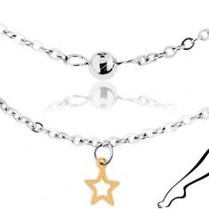 Stalowy łańcuszek na nogę srebrnego koloru, lśniące kuleczki i zarysy gwiazdeczek