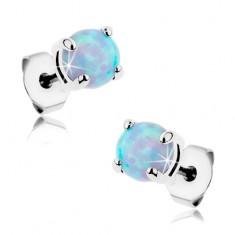 Stalowe sztyfty, okrągły syntetyczny opal niebieskiego koloru