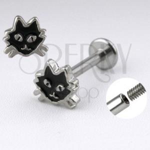 Stalowy labret srebrnego koloru - kot z czarną emalią