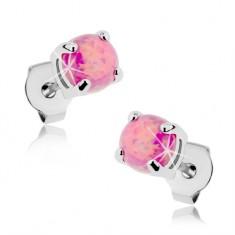 Kolczyki ze stali 316L, okrągły syntetyczny opal różowego koloru, wkręty, 5 mm