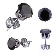 Lśniące stalowe kolczyki, okrągła cyrkonia w czarnym kolorze, 9 mm