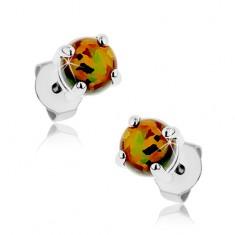 Kolczyki z chirurgicznej stali, pomarańczowy syntetyczny opal, kolorowe refleksy