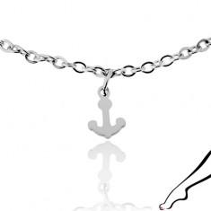 Stalowy łańcuszek na kostkę, srebrny kolor, trzy zawieszki - lśniące kotwice
