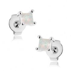 Kolczyki z chirurgicznej stali, biały tęczowy syntetyczny opal - kwadracik, 3 mm
