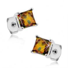 Kolczyki ze stali 316L, kwadrat - syntetyczny opal pomarańczowego i zielonego koloru, 5 mm