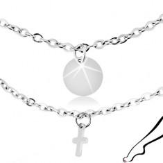Stalowy łańcuszek na kostkę, srebrny kolor, zawieszki - płaskie koła i krzyże