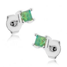 Kolczyki z chirurgicznej stali, zielony kwadracik - syntetyczny opal, 3 mm