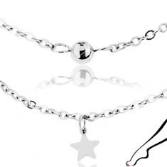 Łańcuszek na kostkę, stal chirurgiczna srebrnego koloru, lśniące gwiazdy i kuleczki