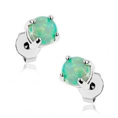 Kolczyki ze stali chirurgicznej, okrągły syntetyczny opal zielonego koloru, 5 mm