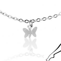 Łańcuszek na nogę ze stali 316L, srebrny kolor, trzy zawieszki - lśniące motylki