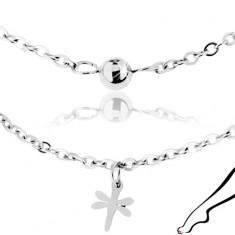 Stalowy łańcuszek na kostkę, srebrny kolor, lśniące ważki i kuleczka