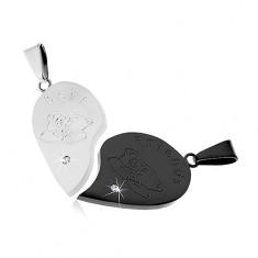 Dwie zawieszki ze stali 316L, serce - srebrny i czarny kolor, miś, napis, cyrkonia