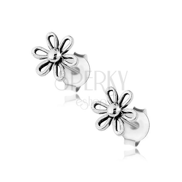 Kolczyki ze srebra 925, lśniący kwiatek z kuleczką w środku, patyna