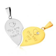 Dwa wisiorki ze stali 316L dla pary, srebrny i złoty kolor, serce, napis, cyrkonie