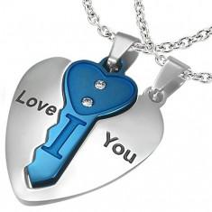 Stalowa dwuczęściowa zawieszka, serce srebrnego koloru z niebieskim kluczykiem, napis, cyrkonie