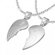Dwuczęściowa zawieszka ze stali 316L, anielskie skrzydła, symbole ONA i ON, przejrzyste cyrkonie