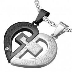 Zawieszki dla pary, stal 316L, srebrny i czarny odcień, serce, krzyż