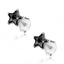 Kolczyki z 925 srebra, wkręty, wyszlifowana gwiazdeczka z czarnej cyrkonii, 6 mm