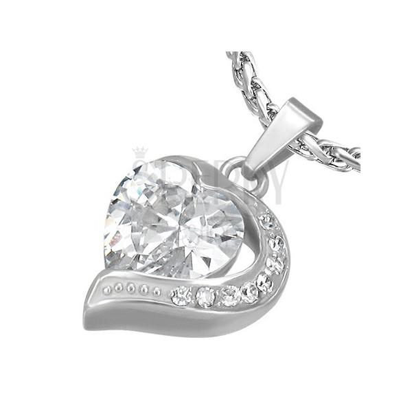 Wisiorek ze stali, cyrkoniowe serce z połówką serca