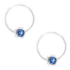 Srebrne kolczyki 925, niebieski okrągły kryształek Swarovskiego, kwiatek