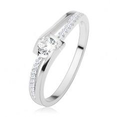 Zaręczynowy pierścionek ze srebra 925, rozdzielone faliste ramiona, bezbarwne cyrkonie
