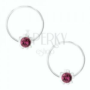 Okrągłe kolczyki ze srebra 925, fioletowy kwiatek, okrągły kryształ Swarovski