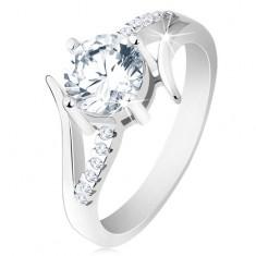 Zaręczynowy pierścionek ze srebra 925, rozdzielone ramiona, okrągła bezbarwna cyrkonia