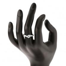 Zaręczynowy pierścionek ze srebra 925, lśniące ramiona, okrągła bezbarwna cyrkonia