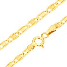 Złota bransoletka 585 - lśniące ogniwa, gładki prostokąt, promieniste nacięcia, 185 mm
