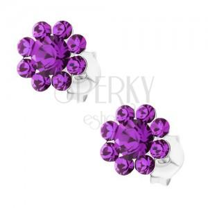 Kolczyki ze srebra 925, błyszczący kwiatek - fioletowe kryształki Preciosa
