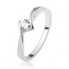 Zaręczynowy pierścionek, srebro 925, lśniące zaokrąglone linie, okrągła bezbarwna cyrkonia pośrodku