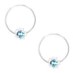 Okrągłe kolczyki, srebro 925, jasnoniebieski kryształ Swarovskiego, kwiat